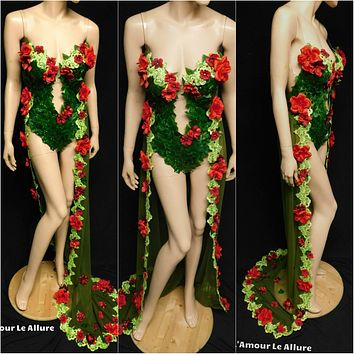 Red Rose Poison Ivy Monokini Gown Dress Costume Rave Cosplay Halloween