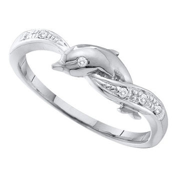 10k White Gold 0.04Ctw  Diamond  Dolphin Ring