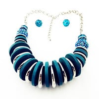 Fashion Accessories Jewelry Silver Chain Wooden African Earrings Sets Vintage Beads Choker