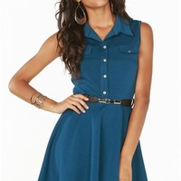 A'GACI Button Front Belted Fit N Flare Dress - DRESSES