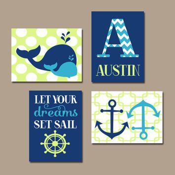 WHALE Nursery Art, Ocean Nautical Decor, Baby Boy Nautical Decor, Anchor WHALE Theme, Dreams Set Sail Quote, Set of 4 Canvas or Print