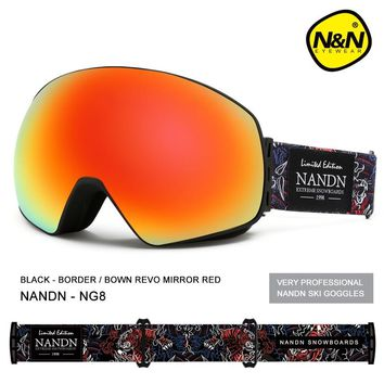 NANDN New ski goggles double layers UV400 anti-fog big ski mask glasses skiing men women snow snowboard goggles