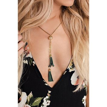 Elara Tassel Necklace (Gold/Green)