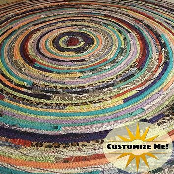 4' Colorful Round Rug, Handmade to Order YOU Choose Colors! Gypsy Boho Bohemian Upcycled