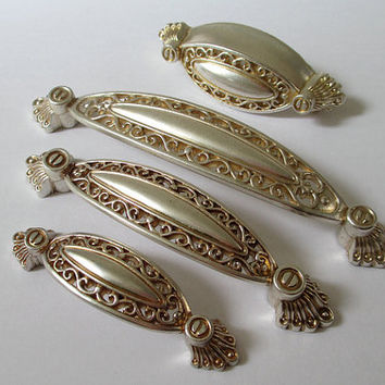 Antique Silver Drawer Pulls Handles / Dresser Pull Handle / Kitchen Cabinet  Knobs Pull Handles /