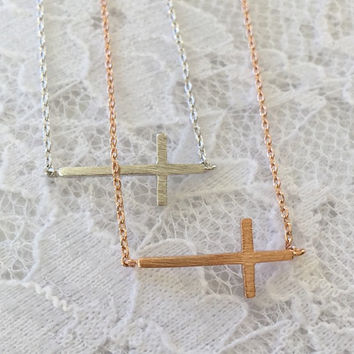 SALE-Rose Gold Sideways Cross Necklace,Women's Necklace,Bridesmaid Gift,Dainty Necklace,Mother's Day Gift,Valentine's Day Gift
