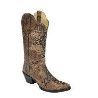 Corral Bronze and Black Cross Embroidered Boots R1279