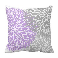 Lavender and Grey Flowers Throw Pillow
