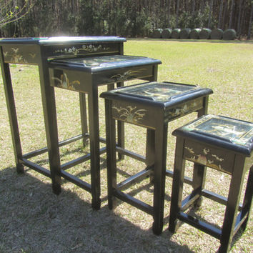 Asian Nesting Table. Black Laquer Nesting Table, Oriental Side Table, Glass Top Table, Vintage Stacking Tables, Side Table, Nesting Tables,