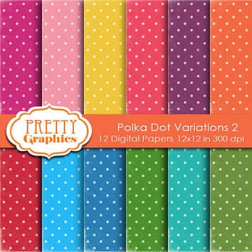 DIGITAL PAPERS - Polka Dot Variations 2 - Commercial Use - 12x12 JPG Files - Scrapbook Papers - High Quality 300 dpi