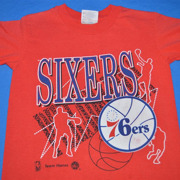 90s Philadelphia 76ers Team Hanes Sixers t-shirt Youth Small