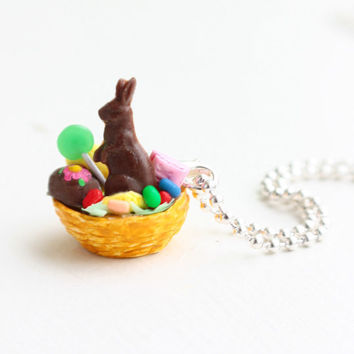 Easter Basket Necklace Charm Pendants Charm by bookmarksnrings