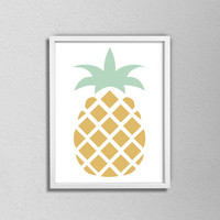 Minimalist Pineapple Kitchen Poster. Gold and Green Pineapple. Modern Kitchen Art. Fruit Print. Pineapple Kitchen Print.