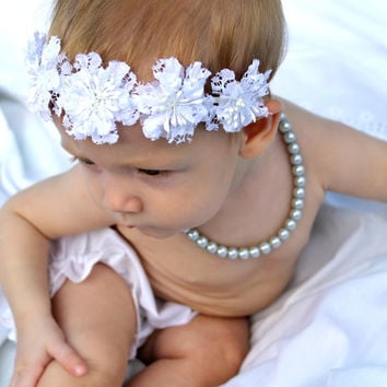 White Baptism Flower Headband crown, christening Baby to Toddler Headband, Newborn Photo Prop, Christening headband