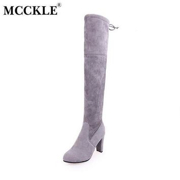 ICIKYE MCCKLE Winter Thigh High Boots Women Faux Suede Leather High Heels Over The Knee Botas