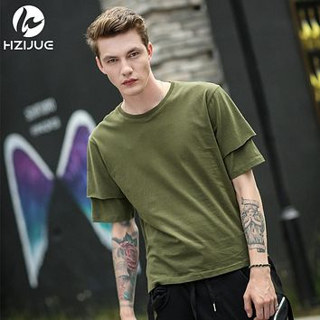 Original double sleeves design cotton Tops pure solid color high street loose male t shirt