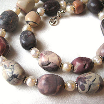 Earthy Terra Rosa (Picasso) Jasper & freshwater pearl necklace. Shades of burgundy, pink, purple and beige jewelry. Boho and earthy.