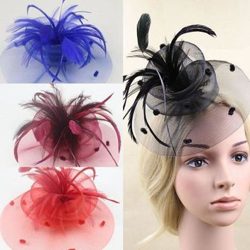 MDIGON New Wedding Party Cocktail Veil Mini Hat Cap Feather Veil Hair Clip Fascinato