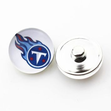 Hot selling 20pcs/lot Glass Tennessee Titans Football Snap Buttons fit 18mm Snap Bracelets&Bangles DIY Snap Necklaces Jewelry