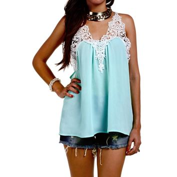 Stylish Scoop Neck Crochet Chiffon Tank Top For Women