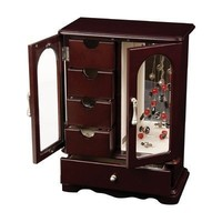 Mele & Co Adele Upright Glass Door Jewelry Box in Mahogany