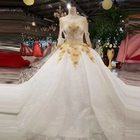 modabelle Vintage Abiti Sposa Women Ball Gown Wedding Dress Tulle Gold Lace Long Sleeves Open Back Wedding Gowns For Bride 2018