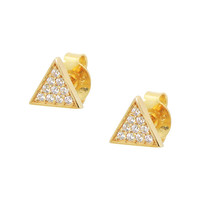 Silver 18k Gold Plated Triangle CZ Micropave Seting Stud Earrings