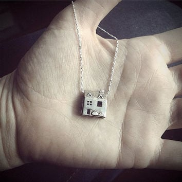 Doll House Necklace - MINI version - Stainless Steel Jewelry - Pre Colonial House - inspired by dollhouses and miniatures