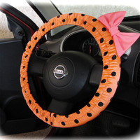 by (CoverWheel) Steering wheel cover for wheel car accessories, peach polka dot wheel cover with neon pink bow