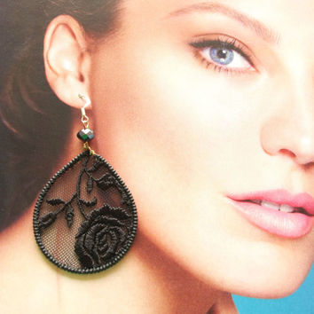 Black lace earrings - sexy huge round and drop earrings - embroidered rose - lacy evening earrings.