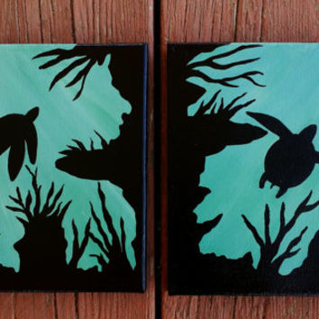 Sea turtle acrylic painting, sea turtle two piece canvas, handpainted acrylic painting, underwater scene, blue wall decor, turtle decor