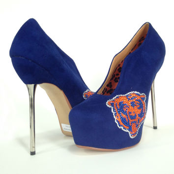 2014-2015 Chicago Bears Crystal Rhinestone High Heel Suede Pumps