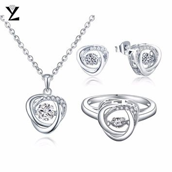 YL 100% 925 Sterling Silver Dancing Jewelry Sets with Natural Topaz Stone for Women Wedding Engagement Earrings Necklaces Rings