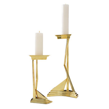 Abstract Brass Candlesticks
