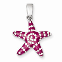 Sterling Silver Rhodium & Ferido Pink Stellux Crystal Star Fish Pendant