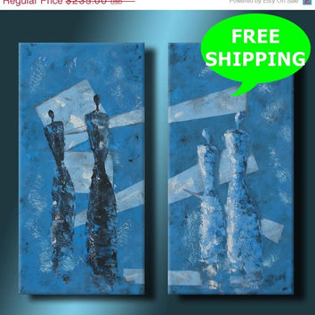 ON SALE Black & White Angels Figures 24 inch Original Textured Acrylic Painting on Blue Canvas 2 Canvases Wall Home Decor