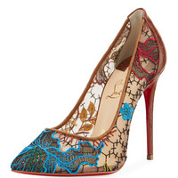 Christian Louboutin Follies Piped Lace Red Sole Pump, Multi