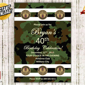 Instant Download Airborne Birthday Invitation, Retirement, Anniversary, Army party, Military, DIY, i00000241s_ADU, ADU