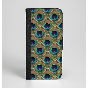 The Multiple Peacock Feather Pattern Ink-Fuzed Leather Folding Wallet Case for the iPhone 6/6s, 6/6s Plus, 5/5s and 5c