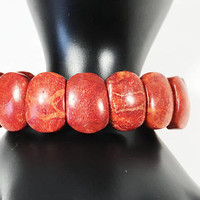 Apple Coral Beads Stretch Bracelet, Boho Style Red Orange Oval (Squoval) Links,  One Size Fits Most Vintage 1990s Tropical Beach Jewelry