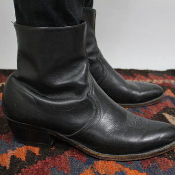 d023668dbf0 SALE - 60s - Black Leather - Pointed - Ankle - Beatle Boots - Cu