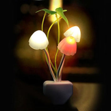 Creative Mushroom  Light Sense Control Led Night Wall lamp