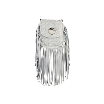 Cavalli Class White Metal Fastening Leather Crossbody Bag