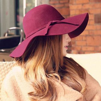 Women Winter Fashion Classic Retro Jazz Warm Ladies Fedora Bucket Cotton Cute Sweet Caps Christmas Wide Brim Top Sun Hat