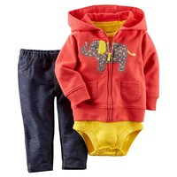 Carter's Elephant Hooded Cardigan Set - Baby Girl, Size: