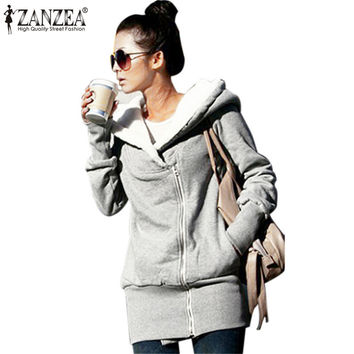 Autumn Winter Women Thick Fleece Warm Hoodies Sweatshirt Zipper Sport Hoodie Outerwear Long Coat  Hooded Jacket Plus Size S-3XL