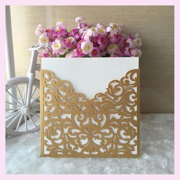 50pcs/lot laser cut high quality shimmer paper pearlescent paper wedding invitation cards greeting card name card