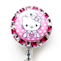 SIZZLE CITY New Custom Made Bling Rhinestone ID Badge Pull Reel Retractable ID Badge Holders (Pink Hello Kitty Nurse)