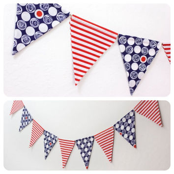Fabric Double-sided Bunting Pennant Flag Banner, Boy's Room, Girls, Birthday Party, Photo Prop Baby, Wedding // Red, White & Blue Nautical