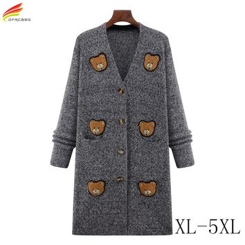Autumn Winter 2017 New Arrivals Women Long Coat And Jacket Character Pattern Thickness Warm Outwear Cardigan Open Stitch Coats